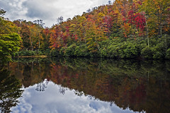 Falls Here (lightonthewater) Tags: fall fallfoliage fallcolors blueridgeparkway northcarolina lake reflection sky