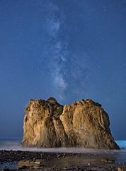 Milky Way rising over rocks at El matdor state beach (lucmena) Tags: milky way stars starry sky night beach el matador california long exposure outdoor nature ocean pacific malibu coast serene seascape ngc