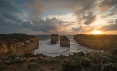 Sunset at The Island Arch at Loch Ard Gorge along The Great Ocean Road Victoria Australia (laurie.g.w) Tags: lochardgorge greatoceanroad victoria australia south coast shipwreckcoast sky cloud ocean rock water portcampbell nationalpark islandarch tokina 17mm sunset