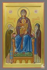 Божия Матерь с Богомладенцем Христом и предстоящими преп. Серафимом Саровским и преп. Никодимом Святогорцем. Частное собрание.
