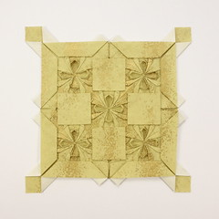 Tessellation: Felix Culpa (Michał Kosmulski and N.N.) (Michał Kosmulski) Tags: origami tessellation square cross flower washipaper michałkosmulski gold yellow colorchange