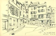 Place de la Halle Daret - Tonnerre (lolo wagner) Tags: urbansketchers usk croquis sketch tonnerre bourgogne
