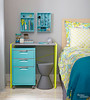 2-in-1 Desk & Nightstand (Heath & the B.L.T. boys) Tags: yellow bedroom office stool organize repurpose desk nightstand scissors turquoise