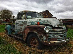 no more trips down that gravel road...(abandoned truck-illinois) (Aces & Eights Photography) Tags: abamdoned abandonment decay ruraldecay oldtruck abandonedtruck chevrolet 3800 advancedesign rusty rust farm farmtruck cellphonephotography