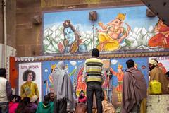 Varanasi   Uttar Pradesh (chamorojas) Tags: varanasi benares uttarpradesh up ghat hinduism ganesha shiva saibaba india wallart paint