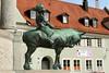 Magic Beasts (gripspix (OFF)) Tags: 20170828 kempten allgäu sanktmangbrunnen jugendstil artsandcrafts brunnen fountain bronce bronze patina statue figure green grün unicorn einhorn faun