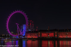 London Eye by night (Otertryne2010) Tags: 2017 2k17 eye london thames uk familien light linakerfamily night bridge river water building sky county hall