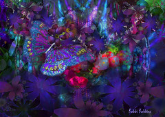 In Flight merge (brillianthues) Tags: fractal flowers abstract butterfly blue purple colorful collage photography photmanuplation photoshop