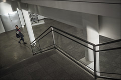The stair. ( Pamplona ) (José Luis Cosme Giral) Tags: thestair architecture modern youngwoman streetphotography olympus pamplona navarra