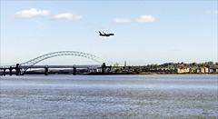 Flight Path over the Mersey (Elaine 55.) Tags: jubileebridge runcorn widnes rivermersey ryanair plane