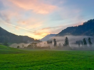 Morning mist in the Alps in Bavaria, Southern Germany