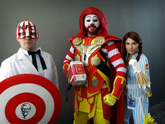The McVengers (greyloch) Tags: dragoncon cosplay mashup humor funny mascot marvel avengers captainamerica thor blackwidow 2017 sony dsctx30 niksoftware comicbookcharacter