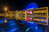 Panorama HDR Atlas theater (Rene Mensen) Tags: panorama hdr emmen drenthe thenetherlands square city theather d5100 nikon nikkor wildlands atlas blue light lights long exposure