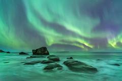 'Polar Waves' - Lofoten, Norway (Kristofer Williams) Tags: aurora auroraborealis northernlights night sky stars nightscape landscape seascape coast beach sea rocks waves uttakleiv lofoten norway