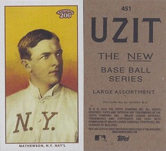 2002 / 2003 - Topps 206 Mini Baseball Card / Series 3 / Uzit - CHRISTY MATHEWSON / REP #451 (Pitcher) (Baseball Hall of Fame 1936) (New York Giants) (Treasures from the Past) Tags: series1 series2 series3 2002 2003 topps 206 topps206 baseball polarbear sweetcaporalred sweetcaporalblack cycle carolinabrights blackpiedmont redpiedmont uzit masterset sweetcaporal sweetcaporalblue blue mini card minicard baseballcard 2002topps206 t206 hof halloffame baseballhalloffame christymathewson newyorkgiants nygiants pitcher