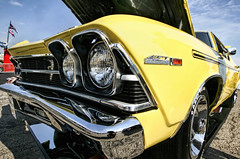 """Oh, just some yellow thing with """"Yenko"""" all over it (~ Liberty Images) Tags: yellow chevy chevrolet vrooom carshow classiccar yenko chevelle headlights yenko427 grille"""