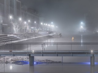 A Foggy Boat Harbour and Boardwalk - Kingston - ACT - Australia - 20160615 @ 04:46