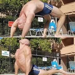 poolside yoga (ddman_70) Tags: shirtless pecs abs muscle yoga backbend cobrapose speedo
