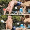 poolside yoga (ddman_70) Tags: shirtless pecs abs muscle yoga backbend cobrapose speedo