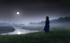 Good night (iwona_podlasinska) Tags: moon light river dream night fairy tale