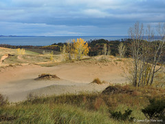 Autumn Dunes (JamesEyeViewPhotography) Tags: michigan fall colors autumn sand dunes landscape lake water trees northernmichigan sleepingbeardunes nationallakeshore grass sky clouds lakemichigan greatlakes nature jameseyeviewphotography