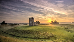 Dawn in Dorset (Nick L) Tags: knowlton knowltonchurch henge church abandoned sun landscape mist dorset uk englishcountryside england englishheritage clouds dawnlight sunrise yewtrees abandonedchurch greengrass knowltonhenge unitedkingdom britain britishcountryside dorsetmisty misty