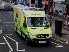 London Ambulance Service . 8014 LP12XVB . Highgate , London . Tuesday 24th-October-2017 . (AndrewHA's) Tags: london ambulance service mercedes benz sprinter 516 cdi emergency 999 blue lights call 8014 lp12xvb highgate nhs patient transport