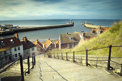 Busy Steps of Whitby (Digital) (Benjamin Driver) Tags: whitby scape landscape north east england coast sea cloud clouds long exposure longexposure lee nd big stopper composite sun blur eos60d 60d canon contrast colour saturated quiet busy 2017 summer light sharp complementary orange blue slowshutter stairs steps grass seaside seasidetown