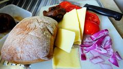 Air fryer cooking (Sandy Austin) Tags: food panasoniclumixdmcfz70 sandyaustin massey auckland northisland newzealand ciabatta buns cheese tomatoes onion preservedlemon
