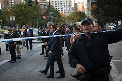 New York City Mayor Bill de Blasio and New York State Governor Andrew Cuomo observe the scene after an incident downtown on Tuesday, October 31, 2017. Michael Appleton/Mayoral Photo Office. (nycmayorsoffice) Tags: andrewcuomo billdeblasio cuomo fd firefighters mayor newyorkcityfiredepartment newyorkcitypolicedepartment newyorkcounty pd cop cops fdny fire governor manhattan newyork newyorkcity newyorkcitymayorbilldeblasio nyc nypd police