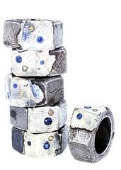Nut Rings - Repair Series - 8 (the justified sinner) Tags: justifiedsinner jewellery jewelry foundobject silver iron steel rust corrosion industry industrial nut sapphire diamond corundum