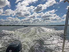 Boating in Sarasota (soniaadammurray - Off) Tags: iphone sky clouds land sea wake boats boating water blue trees nature martedidinuvole martesdenubes nicewonderfultuesdayclouds