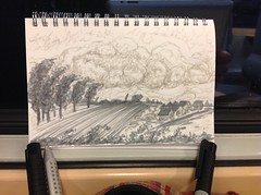 Depuis la fenêtre du train (Claudio Nichele (@jihan65)) Tags: dessin esquisse sketch dessiner sketching nature autumn automne crayon marqueur sketchbook urbansketching nuages clouds