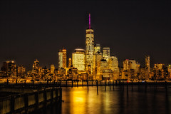 The City that Never Sleep (Ben-ah) Tags: newyork ny skyline architecture sky hudsonriver river planks glow night nightphotography travelphotography newport nj newjersey