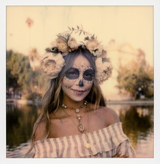 Muertos Maiden 2 (tobysx70) Tags: polaroid originals color 600 instant film slr680 frankenroid sx70 door rollers maiden dia de los muertos celebration hollywood forever cemetery santa monica blvd boulevard angeles la california ca woman lady portrait skull makeup flower crown bokeh route rte rt 66 toby hancock photography