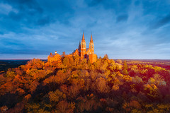 Holy Hill (Nenad Spasojevic) Tags: hill beauty drone clouds bluehour travel exploration nature naturallight nenadspasojevic dji view fall aerial wi woods pointofview outdoors sun droning basilica cathedral caramelrd perspective sunset horizon church holyhill wisconsin fallcolor shrineofmary sunrays autumn hubertus chicago illinois il usa