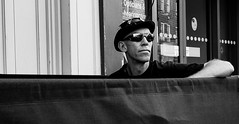 On the edge (phil anker) Tags: people street mono cafe fujix70