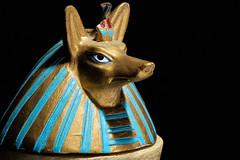 Miniature Anubis (Ian Charleton) Tags: macromondays souvenir anubis miniature macro egypt egyptian mummification mummy blackbackground