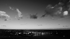 moon over Port Erin bay (pix-4-2-day) Tags: porterin isleofman ellanvannin moon mond himmel sky clouds wolken monochrome schwarzweis blackandwhite black white bay wideangle weitwinkel pano panorama panoramic horizon horizont