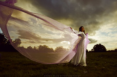 Veil sail (modulationmike) Tags: model beauty nikon wideangle chiffon wind blowing mood atmospheric thai asian clouds lowangle texture shadows contrast ruins abbey pink cloth flowing angles