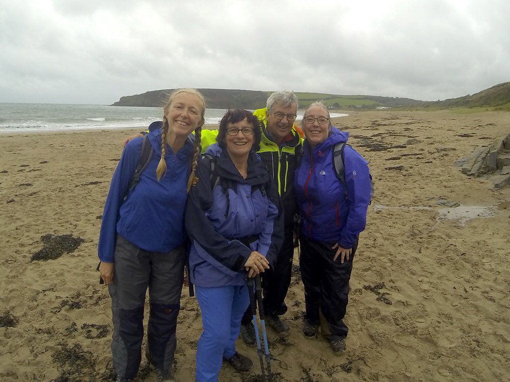 Mary, Steffi, Dave and Hazel.  Freshwater East beach, Pembrokeshire
