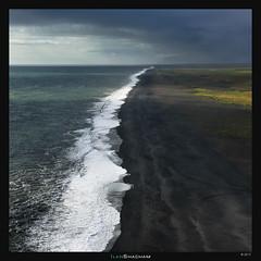 Iceland Shore (Ilan Shacham) Tags: landscape view scenic seascape sea ocean coast shore beach black birds square fineart fineartphotography iceland dyrholaey dramatic light
