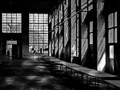 old factory (heinzkren) Tags: light shadows windows fenster licht schatten schwarzweis blackandwhite panasonic lumix silhouette gebäude building architecture monochrome fabrik halle room wien vienna austria