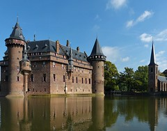 De Haar Castle and Chapel (joeke pieters) Tags: 1360163 panasonicdmcfz150 dehaar haarzuilens kasteel castle kapel chapel utrecht nederland netherlands holland reflections gracht moat