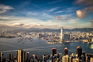 Panorama of Hong Kong City skyline before sunset