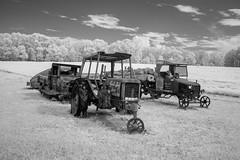 Trucks in the Field IR (Neal3K) Tags: georgia infraredcamera ir kolarivisionmodifiedcamera bw blackandwhite abandoned rust vehicles field tractor trucks dublinga