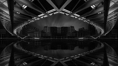 Madness in Gothan (sgsierra) Tags: gotham bn fine art black white blanco y negro sueño dream nikon d810 1424 puente bridge agua water reflejo reflection ría spain