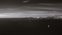Windy Afternoon at the Golden Gate (fksr) Tags: goldengate pacificocean pointbonita pacificcoast cliffs sailboats clouds sky marincounty california landscape marinheadlands blackandwhite infrared