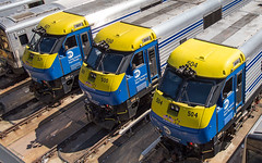 Electro-Diesels. (Dave McDigital) Tags: mta metropolitantransportauthority longislandrailroad lirr hudsonyards dm30ac dualmode locomotives 504 500 521