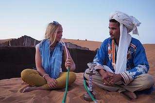 Shisha smoking in the desert